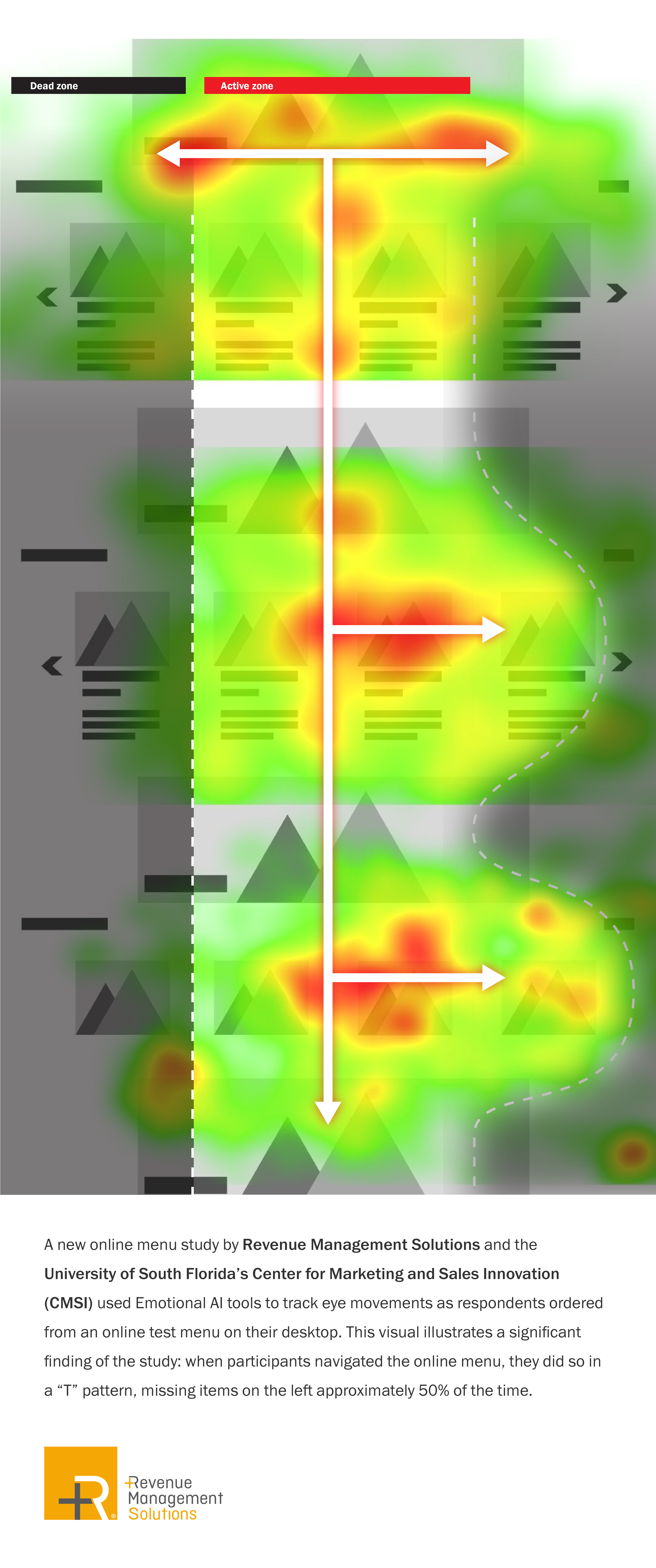 Heatmap from a first ever online study by Revenue Management Solutions and the University of South Florida's Center for Marketing and Sales Innovation (CMSI) that evaluated online ordering behavior.