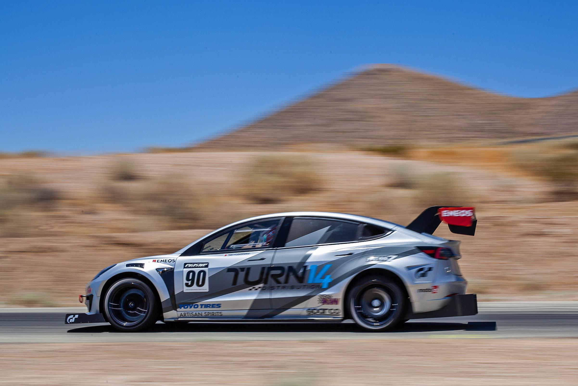Turn 14 Distribution / Toyo Tires / ENEOS / Evasive Motorsports Tesla Model 3 Pikes Peak race car captured during pre-reace testing