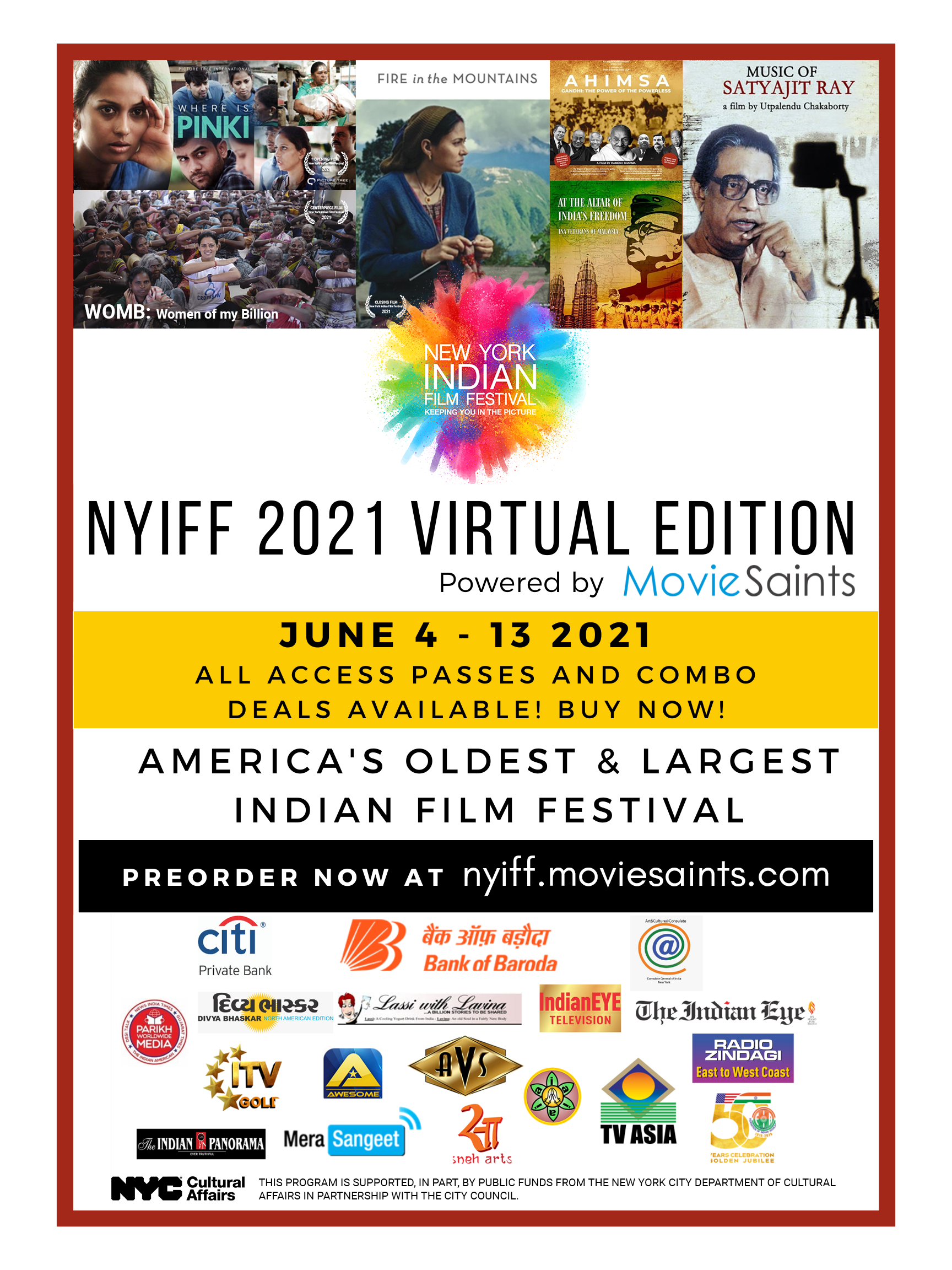 The New York Indian Film Festival runs June 4-13 2021. With over 58 films - narrative features, docs and shorts - in 15 languages with English subtitles, it is the biggest film festival showcasing Indian cinema. Tickets at nyiff.moviesaints.com