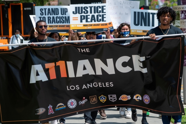 AEG's LA Kings and LA Galaxy joined the nine other professional sports teams in Los Angeles that comprise THE ALLIANCE: Los Angeles in engaging in meaningful conversations with local youth and civic leaders during the first Alliance Unity March & Dialogue in the fight against racism on July 18, 2021.