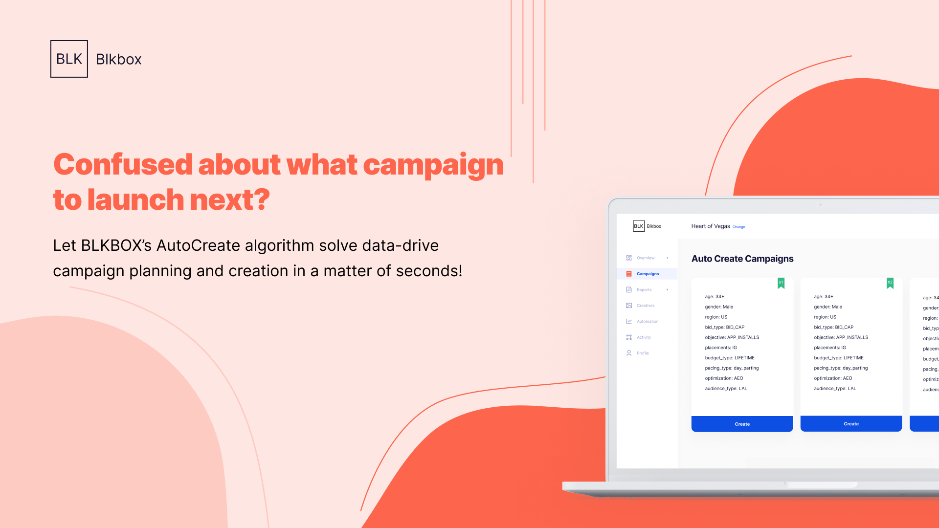 BLKBOX automates campaign creation, audiences, creative testing and much more.