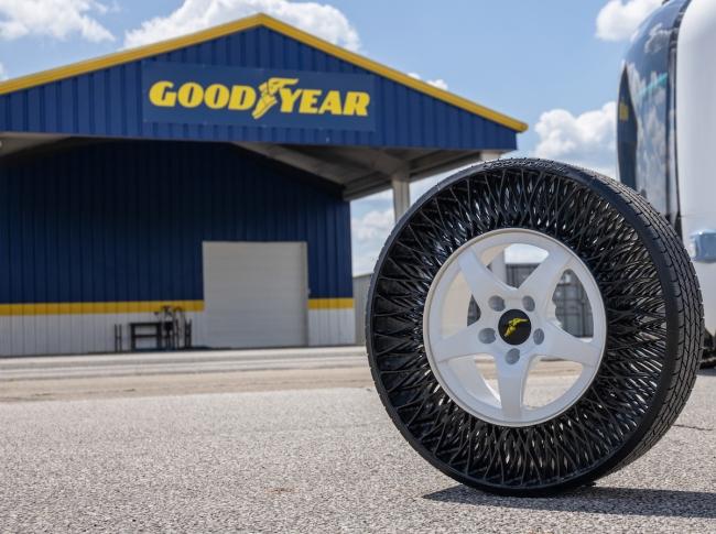 A Goodyear non-pneumatic (airless) tire (NPT)