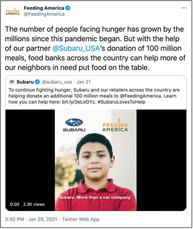 A few months ago, Subaru generously donated 50 million meals to Feeding America through a campaign that supported 199 food banks across the country. More recently, Subaru helped donate 100 million additional meals.
