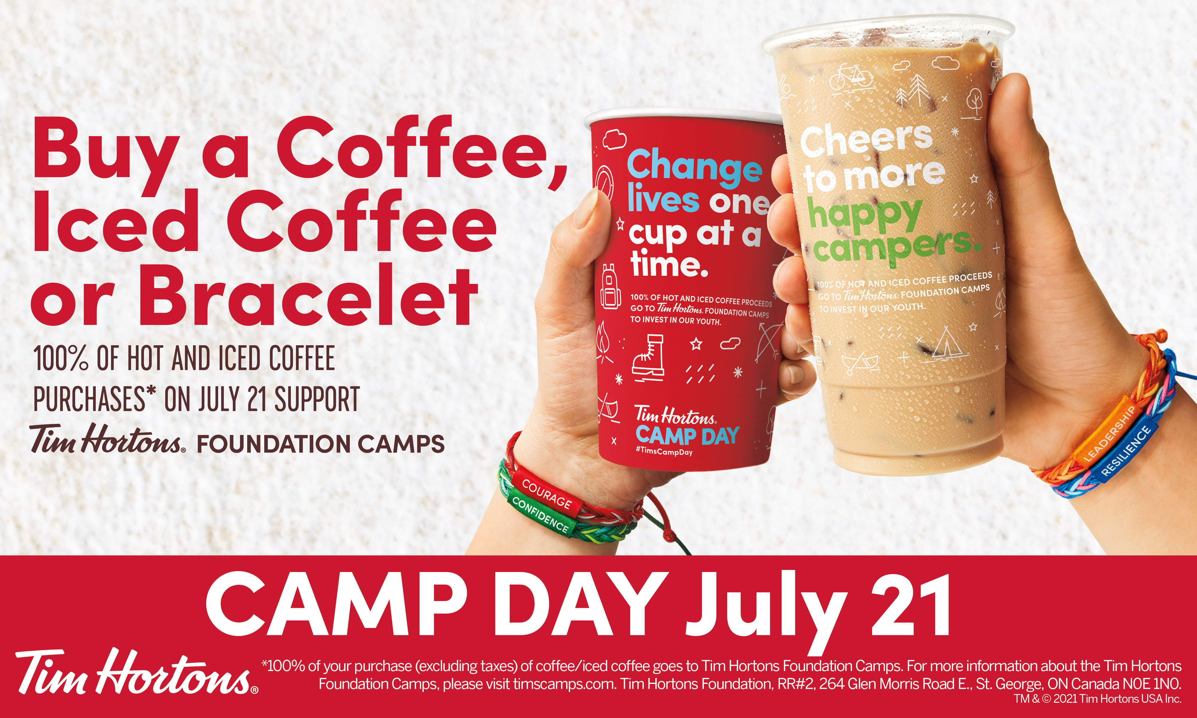 TIM HORTONS® U.S. IS CELEBRATING CAMP DAY ON JULY 21 - CAMPAIGN HAS RAISED OVER $168 MILLION TO SUPPORT YOUTH FROM DISADVANTAGED CIRCUMSTANCES