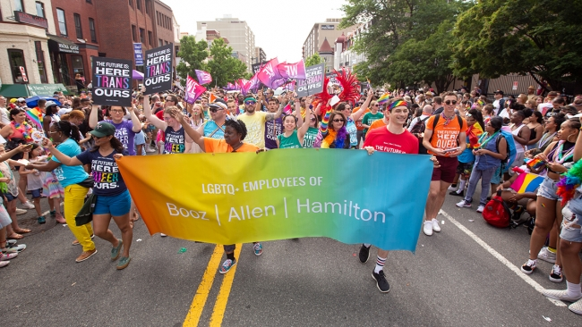 """Firm employees celebrate during PRIDE 2019 in Washington, D.C. This year's theme is """"Pride Springs Forth"""" as we re-emerge from the challenges of 2020 and spring forth into 2021—together."""