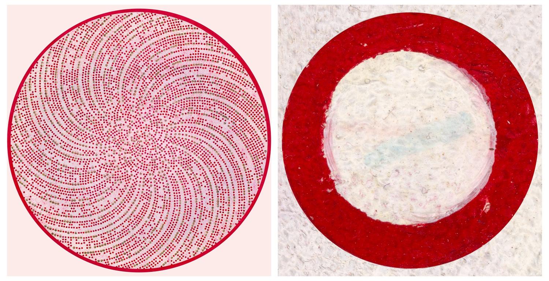 Left: 1000EYE (2019), Oil painting, 3m diameter; Right: Eye of Satoshi Nakamoto, (100EYE close-up) Courtesy of CryptoZR