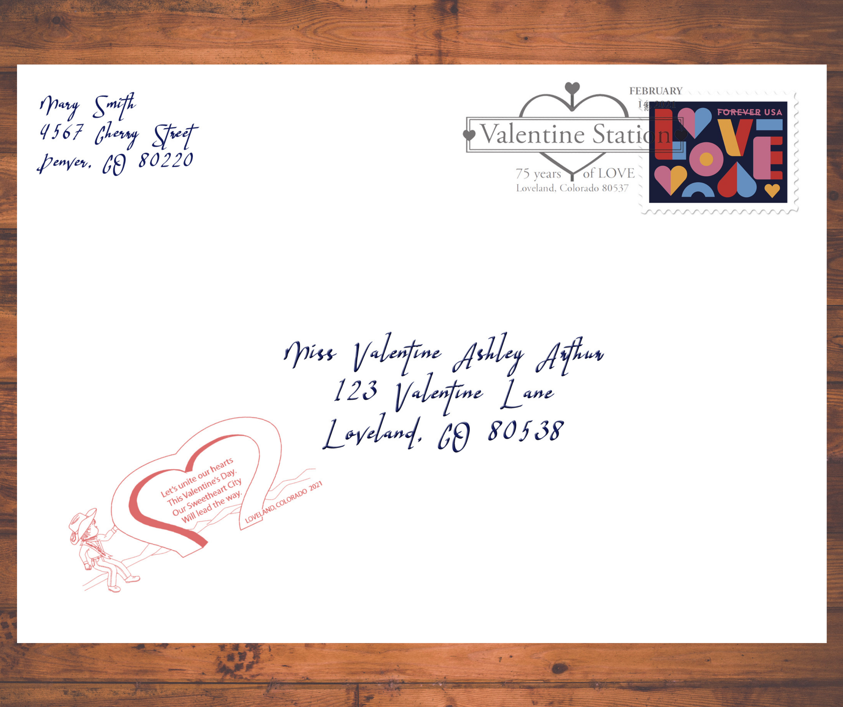 This sample valentine shows the unique Loveland cachet stamp (bottom left) and postmark (top right) that are stamped on every valentine that comes through the Loveland Valentine Re-Mailing Program.
