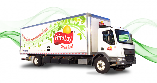 Cummins has partnered with Frito Lay to demonstrate the Cummins PowerDrive electric powertrain in a class 6 box truck.