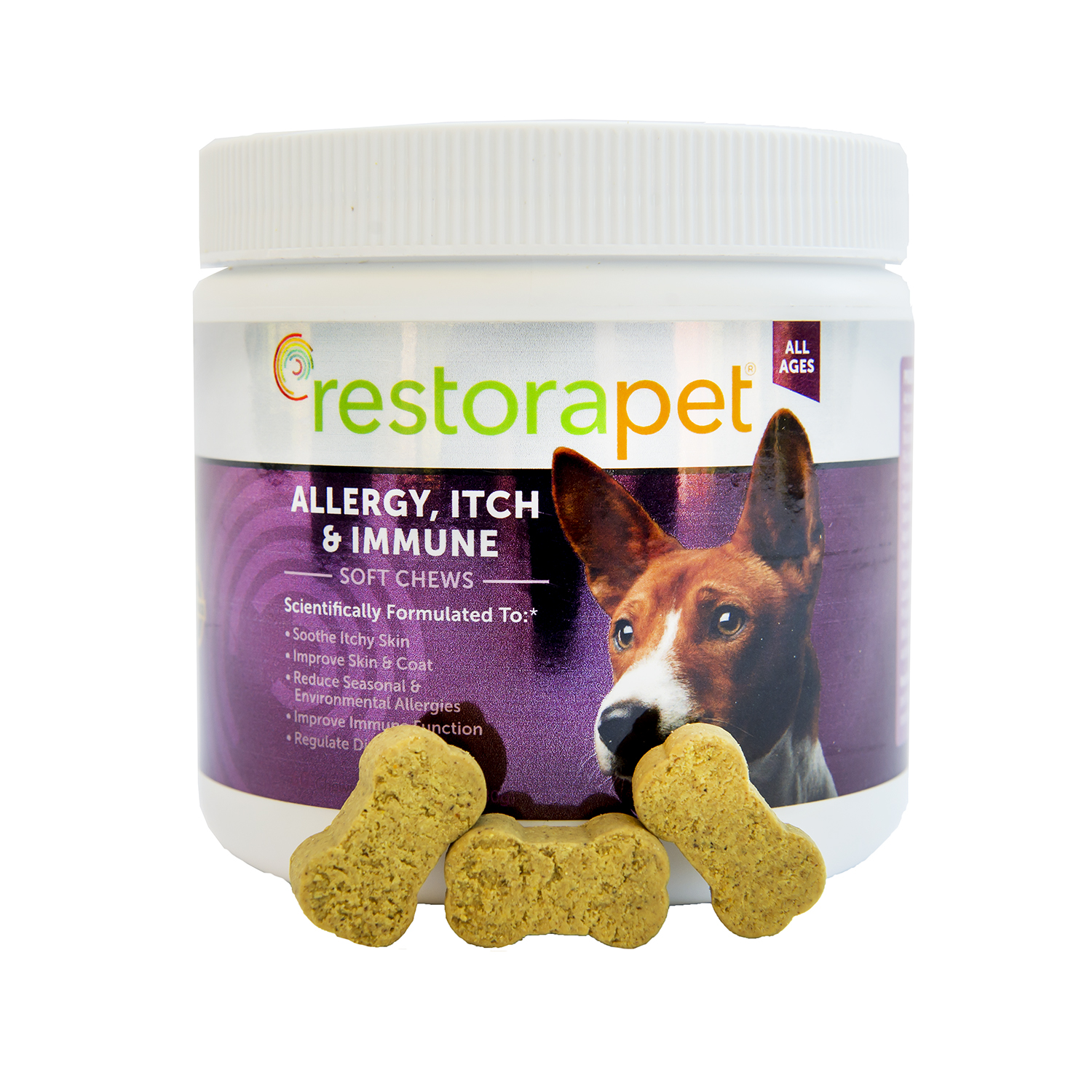 The bacon-flavored RestoraPet Allergy, Itch & Immune chews soothe itchy skin, reduce environmental and seasonal allergies, improve immune function, and more.